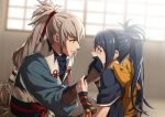 1boy 1girl black_gloves black_kimono blue_hair blue_shirt bow braid crown_braid eye_contact fire_emblem fire_emblem_fates gloves hair_ribbon indian_style indoors japanese_clothes kimono long_hair long_sleeves looking_at_another lowres minato_(robin) oboro_(fire_emblem) ponytail red_eyes red_ribbon ribbon shiny shiny_hair shirt silver_hair sitting takumi_(fire_emblem) upper_body very_long_hair yellow_bow