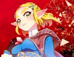 1girl black_gloves blonde_hair braid breasts chichi_band closed_mouth crown_braid fingerless_gloves fingernails gloves green_eyes hair_ornament hairclip hand_up medium_breasts pointy_ears princess_zelda red_background short_hair solo the_legend_of_zelda the_legend_of_zelda:_breath_of_the_wild the_legend_of_zelda:_breath_of_the_wild_2 thick_eyebrows turtleneck