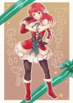 1girl blush breasts christmas commentary_request dress gloves long_hair looking_at_viewer pantyhose piggybank_(pixiv) primiera_(saga) redhead saga saga_frontier_2 solo