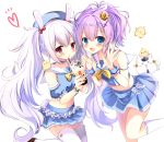 2girls :d :o animal animal_ears azur_lane bangs beret bird blue_eyes blue_headwear blue_shirt blue_skirt blue_sleeves blush bow brown_footwear bubble_tea cat chick commentary_request crop_top crown cup detached_sleeves disposable_cup drinking_straw eyebrows_visible_through_hair hair_between_eyes hair_ribbon hat heart highres holding holding_cup javelin_(azur_lane) laffey_(azur_lane) long_hair manjuu_(azur_lane) meowficer_(azur_lane) midriff mini_crown multiple_girls navel open_mouth parted_lips pleated_skirt puffy_short_sleeves puffy_sleeves purple_hair rabbit_ears red_bow red_eyes ribbon sailor_collar shirt shoes short_sleeves silver_hair simple_background skirt sleeveless sleeveless_shirt smile standing standing_on_one_leg thigh-highs tilted_headwear twintails very_long_hair white_background white_legwear white_ribbon white_sailor_collar wrist_cuffs yuutsuki_hina
