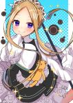 1girl abigail_williams_(fate/grand_order) akirannu apron bangs black_skirt blonde_hair blue_eyes bow butterfly_hair_ornament fate/grand_order fate_(series) hair_ornament heroic_spirit_chaldea_park_outfit highres key long_hair looking_at_viewer maid maid_apron maid_headdress orange_bow parted_bangs skirt sleeves_past_fingers sleeves_past_wrists smile sparkle stuffed_animal stuffed_toy teddy_bear white_bow