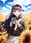 1girl :d bangs black_shirt blurry blurry_background cardcaptor_sakura clouds connie_(keean2019) cowboy_shot daidouji_tomoyo day field floating_hair flower flower_field hat highres long_hair long_sleeves looking_at_viewer open_mouth outdoors petals pleated_skirt purple_hair sailor_collar school_uniform shiny shiny_hair shirt skirt smile solo standing sunflower very_long_hair violet_eyes white_headwear white_neckwear white_sailor_collar white_skirt yellow_flower