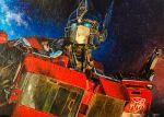absurdres autobot blue_eyes highres machinery mecha night night_sky no_humans optimus_prime paint_(medium) robot signature sky star_(sky) starry_sky towalush transformers