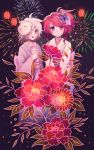 2girls blush butterfly_hair_ornament closed_mouth earrings eyebrows_visible_through_hair fireworks flower hair_flower hair_ornament hair_over_one_eye highres japanese_clothes jewelry kimono lantern longestdistance looking_at_viewer looking_away multiple_girls open_mouth original paper_lantern red_eyes redhead shaved_ice short_hair short_ponytail side_ponytail smile stud_earrings violet_eyes white_hair