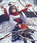 1girl arm_up arm_warmers bangs bare_tree bird_wings black_hair black_legwear black_skirt commentary english_commentary fan feather_fan feathered_wings feet_out_of_frame hat hat_removed headwear_removed highres holding holding_fan holding_leaf kourindou_tengu_costume leaf long_sleeves looking_up lying maple_leaf obi on_back ookashippo open_mouth pleated_skirt red_eyes red_scarf sash scarf shameimaru_aya shirt short_hair skirt snow snowing solo thigh-highs tokin_hat touhou tree tree_branch white_shirt wings