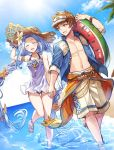 :d ^_^ bare_shoulders beach blue_shirt blue_sky braid closed_eyes day dutch_angle facing_viewer feet_out_of_frame flower gran_(granblue_fantasy) granblue_fantasy hair_flower hair_ornament hat holding_hands kingyo_114 looking_at_another lyria_(granblue_fantasy) one-piece_swimsuit open_mouth palm_tree sandals shirt sky smile straw_hat swimsuit tree twin_braids visor_cap wading