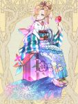1girl ashgray blonde_hair blue_eyes bow candy_apple commission dairoku_youhei fireworks floral_print food full_body hair_over_one_eye hair_ribbon japanese_clothes kimono looking_at_viewer luggage obi pink_bow pinwheel red_nails red_ribbon ribbon sash sile sitting striped wide_sleeves