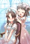 2girls :d ^_^ antenna_hair armchair bangs blue_bow blurry blurry_background blush bow breasts brown_eyes brown_hair chair closed_eyes depth_of_field double_bun dress eyebrows_visible_through_hair forehead frilled_dress frills gloves hair_intakes hair_ribbon hands_on_lap hat highres jintsuu_(kantai_collection) kantai_collection koruri light_blue_dress long_hair multiple_girls naka_(kantai_collection) on_chair open_mouth parted_bangs pink_bow pink_dress pleated_dress puffy_short_sleeves puffy_sleeves putting_on_headwear ribbon round_teeth short_sleeves sidelocks signature sitting small_breasts smile standing teeth tress_ribbon two_side_up upper_teeth white_dress white_gloves white_headwear window