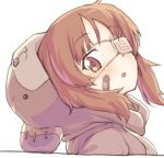 1girl animal_costume bandaid bandaid_on_face bangs bear_costume bear_hood boko_(girls_und_panzer) brown_eyes brown_hair commentary eyebrows_visible_through_hair eyepatch from_side girls_und_panzer head_tilt looking_at_viewer medical_eyepatch monolith_(suibou_souko) nishizumi_miho open_mouth portrait short_hair simple_background solo white_background