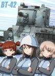 1girl aki_(girls_und_panzer) blue_headwear blue_jacket brown_eyes brown_hair bt-42 closed_mouth commentary crossed_arms emblem eyebrows_visible_through_hair girls_und_panzer green_eyes grin ground_vehicle hair_tie hat highres jacket keizoku_(emblem) keizoku_military_uniform light_brown_hair long_hair long_sleeves looking_at_viewer mika_(girls_und_panzer) mikko_(girls_und_panzer) military military_uniform military_vehicle motion_blur motion_lines motor_vehicle omachi_(slabco) raglan_sleeves red_eyes redhead short_twintails smile solo tank track_jacket twintails uniform zipper