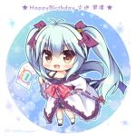 1girl :d antenna_hair bangs bare_shoulders black_skirt blue_hair blue_outline blush bow brown_eyes character_name character_request chibi commentary_request eyebrows_visible_through_hair fang flag hair_between_eyes hair_bow happy_birthday holding holding_flag japanese_clothes kimono long_hair long_sleeves off_shoulder open_mouth pleated_skirt purple_bow red_bow ribbon-trimmed_sleeves ribbon_trim ryuuka_sane skirt sleeves_past_wrists smile socks solo translation_request twintails twitter_username unmei_senjou_no_phi very_long_hair white_kimono white_legwear wide_sleeves