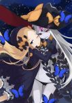 abigail_williams_(fate/grand_order) artist_request bangs black_bow black_dress black_panties blonde_hair bloomers blue_eyes bow bug butterfly dress fangs fate/grand_order fate_(series) grey_hair grey_skin hat highres insect long_hair looking_at_viewer one_eye_closed orange_bow panties parted_bangs red_eyes smile underwear witch_hat