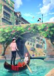 1boy 2girls :d :o black_hair black_pants boat bridge building canal day dress flower gondola hat highres kurageso looking_at_viewer looking_up multiple_girls open_mouth original outdoors pants pink_flower plant potted_plant red_eyes redhead scenery shirt short_hair short_sleeves sitting smile standing striped striped_shirt sun_hat sundress tree uniform vines water watercraft waving white_headwear