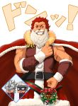 3boys absurdres amakusa_shirou_(fate) archer arm_at_side beard bell belt bow cape chibi christmas clenched_hand coat cross facial_hair fate/grand_order fate/zero fate_(series) fur_trim glint grin highres looking_at_viewer male_focus mask merry_christmas multiple_boys muscle mustache open_mouth ornament red_bow red_cape red_coat red_eyes redhead rider_(fate/zero) santa_costume scar smile standing tama5755 waver_velvet white_background white_hair wreath