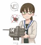 1girl bangs beige_cardigan black-framed_eyewear blush breasts brown_hair c2-chan c2_kikan cannon collarbone dated frown glasses green_eyes grey_shirt holding holding_weapon kawashina_(momen_silicon) long_hair looking_at_viewer low_ponytail neckerchief parted_lips sailor_collar shaking_head shirt signature simple_background small_breasts spoken_o sweatdrop turret upper_body weapon white_background white_neckwear