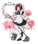 1girl apron bird black_dress black_footwear black_ribbon blush bob_cut breasts broom danganronpa dress frills full_body gloves highres maid maid_dress maid_headdress new_danganronpa_v3 pointing raonal97 redhead ribbon short_hair short_sleeves small_breasts smile white_apron white_bird white_gloves yumeno_himiko