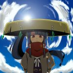 1girl backlighting bangs black_hair blue_sky blunt_bangs blush closed_mouth clouds cloudy_sky commentary_request day fisheye fuurai_(sekaiju) gem half-closed_eyes highres japanese_clothes large_hat long_hair long_sleeves looking_at_viewer mibushido_(milking) orange_eyes outdoors sekaiju_no_meikyuu sekaiju_to_fushigi_no_dungeon sky smile solo standing very_long_hair