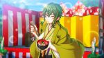 1boy alternate_costume bowl chewing cutlery_(senjuushi) eating embarrassed food game_cg green_hair hair_between_eyes haori highres holding holding_food japanese_clothes kadomatsu kimono looking_at_viewer male_focus mochi new_year no_hat no_headwear official_art orange_eyes outdoors screencap senjuushi:_the_thousand_noble_musketeers shimekazari sidelocks solo wide_sleeves zouni_soup