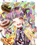 ;d bang_dream! bangs birthday black_choker black_neckwear blunt_bangs border bow choker clenched_hand commentary curly_hair doughnut fang food hair_bow happy_birthday head_tilt highres jewelry necklace necktie one_eye_closed open_mouth outside_border pizza purple_hair red_eyes short_necktie smile strawberry_shortcake twintails twitter_username udagawa_ako upper_body white_border wing_collar zassou_(ukjpn)