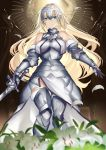 1girl armor armored_dress bangs blonde_hair blue_eyes blush breasts eyebrows_visible_through_hair fate/apocrypha fate_(series) faulds gauntlets headpiece highres holding holding_sword holding_weapon jeanne_d'arc_(fate) jeanne_d'arc_(fate)_(all) karlwolf large_breasts long_hair looking_at_viewer panties plackart smile solo standard_bearer sword thigh-highs underwear very_long_hair weapon