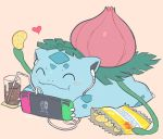 1other ^_^ bag_of_chips blush chips claws closed_eyes closed_mouth cola commentary creatures_(company) cup dinosaur drinking_glass drinking_straw earphones eating food full_body game_freak gen_1_pokemon happy heart holding ivysaur lying nintendo nintendo_switch no_humans olm_digital on_stomach pink_background playing_games pokemon pokemon_(anime) pokemon_(creature) pokemon_frlg pokemon_lgpe pokemon_rgby seed_(pokemon) simple_background super_smash_bros. yasaikakiage