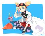 1girl bikini_top blonde_hair blue_eyes double_bun drill gloves goggles goggles_around_neck labcoat lucia_fex multicolored_hair promare skn20662941 striped striped_legwear two-tone_hair vinny_(promare)