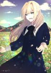 1girl absurdres aiyui artist_name blonde_hair blue_dress blush clouds commentary_request day dress field flower flower_field hair_between_eyes hair_intakes happy highres long_hair long_sleeves mountain original outdoors sky solo standing upper_teeth
