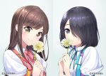 2girls black_hair blush brown_eyes brown_hair character_request closed_mouth collared_shirt copyright_request eyebrows_visible_through_hair flower grey_eyes hair_over_one_eye highres holding holding_flower looking_at_viewer multiple_girls nasubi_(w.c.s) puffy_short_sleeves puffy_sleeves shirt short_hair short_sleeves smile white_shirt