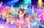 armpits blush brown_eyes dress group idolmaster_cinderella_girls_starlight_stage long_hair shimamura_uzuki smile