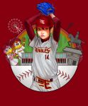 1girl answer_is_(kazunoko) armor arms_up baseball baseball_cap baseball_mitt baseball_uniform bird clenched_hand ferris_wheel hat helmet highres japanese_armor kabuto long_sleeves looking_at_viewer mascot red_background shirt sidelocks sportswear statue touhoku_rakuten_golden_eagles waving white_shirt wristband