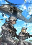 2girls aircraft assault_rifle blonde_hair body_armor brown_hair clouds commentary digital_camouflage fisheye foregrip glasses gloves grass green_eyes gun helicopter helmet kws leaf load_bearing_vest long_hair looking_at_another looking_to_the_side m240 m4_carbine machine_gun medium_hair military military_uniform multiple_girls open_mouth original ponytail red_eyes rifle running safety_glasses sky soldier trigger_discipline uh-60_blackhawk uniform walkie-talkie weapon wind