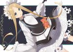 1girl abigail_williams_(fate/grand_order) absurdres apron artist_name bangs black_skirt blonde_hair bloomers blue_eyes bow butterfly_hair_ornament fate/grand_order fate_(series) hair_ornament heroic_spirit_chaldea_park_outfit highres key long_hair looking_at_viewer maid maid_apron maid_headdress orange_bow parted_bangs skirt sleeves_past_fingers sleeves_past_wrists stuffed_animal stuffed_toy teddy_bear underwear white_bow yomogi_uehara