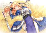 1girl absurdres alternate_hair_length alternate_hairstyle armor armored_dress artoria_pendragon_(all) bangs blue_dress blue_ribbon blush closed_mouth dress excalibur fate/stay_night fate_(series) faulds gauntlets green_eyes hair_between_eyes highres long_dress looking_at_viewer lying on_back ribbon saber siki2046 smile solo sword weapon