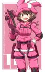 1girl animal_hat aono3 bandana brown_hair bullpup bunny_hat camouflage character_name commentary copyright_name cowboy_shot elbow_pads english_text eyebrows_visible_through_hair fur-trimmed_gloves fur_trim gloves gun hand_on_hip harness hat highres holding holding_gun holding_weapon jacket knee_pads llenn_(sao) long_sleeves looking_at_viewer open_mouth p-chan_(p-90) p90 pants pink_background pink_bandana pink_eyes pink_gloves pink_headwear pink_jacket pink_pants pouch short_hair smile solo standing submachine_gun sword_art_online sword_art_online_alternative:_gun_gale_online trigger_discipline v-shaped_eyebrows weapon