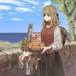 1boy 1girl ahoge backpack bag blonde_hair bowl bread brown_eyes brown_hair building character_request commentary_request eating eyebrows_visible_through_hair food hair_ribbon highres horizon jun_(seojh1029) key_necklace lighthouse medieval ocean original ribbon rock scenery shirt skirt_grab stone_wall tree wall