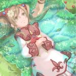1boy 1girl brown_eyes brown_hair coma_(macaron) commentary_request dress faize_scheifa_beleth grass leaf long_hair lying lymle_lemuri_phi open_mouth smile star_ocean star_ocean_the_last_hope twintails