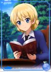 1girl absurdres black_neckwear blonde_hair blue_eyes blue_sweater book braid card_(medium) character_name closed_mouth collared_shirt darjeeling day eyebrows_visible_through_hair girls_und_panzer hair_between_eyes highres holding long_sleeves necktie open_book outdoors reading school_uniform shiny shiny_hair shirt short_hair sitting smile solo st._gloriana's_school_uniform sweater upper_body white_shirt wing_collar