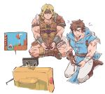 2boys akiyoku belt blonde_hair blue_eyes brown_hair cape castlevania castlevania:_rondo_of_blood controller game_console game_controller gloves handheld_game_console headband highres joy-con konami long_hair male_focus mario mario_(series) multiple_boys nintendo nintendo_ead nintendo_switch open_mouth pikachu playing_games pokemon pokemon_(game) richter_belmondo short_hair simon_belmondo sitting smile sora_(company) super_mario_maker super_smash_bros. television toad whip