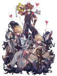 3boys after_battle arm_support blonde_hair blue_eyes brown_hair dirty_face dual_wielding hand_on_hip heart heartless holding indian_style jacket jewelry keyblade kingdom_hearts kingdom_hearts_birth_by_sleep kingdom_hearts_ii kingdom_hearts_iii kingdom_key looking_at_viewer multiple_boys necklace oathkeeper oblivion_(keyblade) over_shoulder planted_weapon roxas serious shoes simple_background sitting smile sneakers sora_(kingdom_hearts) standing symbol_commentary ventus weapon weapon_over_shoulder wristband yurichi_(artist)