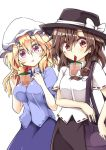 2girls aki_chimaki arm_across_waist bag bangs black_headwear black_skirt blonde_hair blue_shirt blue_skirt blush bow breasts brown_hair bubble_tea bubble_tea_challenge cup disposable_cup drinking drinking_straw eyebrows_visible_through_hair fedora hair_between_eyes hair_bow handbag hat hat_bow highres large_breasts looking_at_another maribel_hearn mob_cap multiple_girls raised_eyebrows red_eyes shiny shiny_hair shirt short_sleeves simple_background skirt small_breasts standing surprised touhou usami_renko violet_eyes white_background white_bow white_headwear white_shirt
