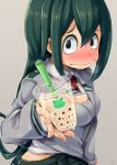 1girl 4shi asui_tsuyu black_eses black_eyes black_skirt blush boku_no_hero_academia breasts bubble_tea frog_girl from_side green_hair grey_jacket hair_between_eyes hair_rings highres jacket long_hair long_sleeves looking_at_viewer low-tied_long_hair medium_breasts school_uniform signature skirt solo upper_body