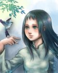 1girl bird black_hair branch closed_mouth commentary_request dress leaf long_hair mono shadow_of_the_colossus smile solo