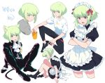 1boy alternate_costume animal_ears apron black_gloves black_jacket casual cat_ears cravat crossdressing crossed_arms earrings enmaided frills gloves green_hair half_gloves highres jacket jewelry lio_fotia maid maid_apron maid_headdress male_focus open_mouth otoko_no_ko promare rew241 sitting socks solo violet_eyes waist_apron