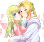 1boy 1girl absurdres blonde_hair blue_eyes blush closed_mouth couple edward_elric from_side fullmetal_alchemist highres hood hood_down hooded_sweater hug long_hair looking_at_viewer machi_(xxx503r) pink_shirt ponytail shirt solo sweater white_background white_sweater winry_rockbell yellow_eyes
