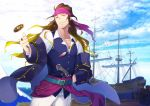 1boy bandana belt blonde_hair blue_sky brown_hair clouds coin crise earrings eugene_mardock gradient_hair grin gun hand_on_hip headband jewelry long_hair looking_at_viewer male_focus multicolored_hair outdoors pants pink_headband pixiv_fantasia pixiv_fantasia_last_saga ring ship sky smile solo standing vest watercraft weapon white_pants yellow_eyes