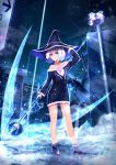 1girl black_dress black_footwear black_headwear blue_eyes collarbone commentary_request dark_sky dress full_body hat highres lamp long_sleeves night original outdoors short_hair sky solo ssautwoarkio staff weapon white_hair witch witch_hat
