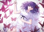 1girl absurdres black_ribbon bug butterfly dress fate/stay_night fate_(series) from_above hair_ribbon highres insect long_hair looking_at_viewer lq_saku lying matou_sakura on_back parted_lips purple_hair red_ribbon rei_no_himo ribbon short_sleeves solo violet_eyes white_background white_dress