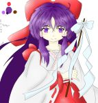 1girl color_guide hakurei_reimu highres purple_hair self_upload solo source_request touhou touhou_(game) touhou_(pc-98) violet_eyes