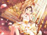 bang_dream! blush brown_eyes brown_hair dress hazawa_tsugumi short_hair smile wedding_dress wedding_veil