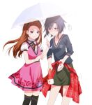 2girls black_eyes black_hair black_hairband black_legwear black_ribbon black_shirt brown_eyes brown_hair clothes_around_waist dress dress_shirt floating_hair floral_print green_skirt hairband idolmaster idolmaster_(classic) kaho_(ramb) kikuchi_makoto long_hair long_sleeves minase_iori miniskirt multiple_girls neck_ribbon parted_lips pencil_skirt pink_dress print_dress print_shirt ribbon shared_umbrella shirt short_dress short_hair short_sleeves skirt sleeveless sleeveless_dress standing sweater_around_waist thigh-highs umbrella white_shirt